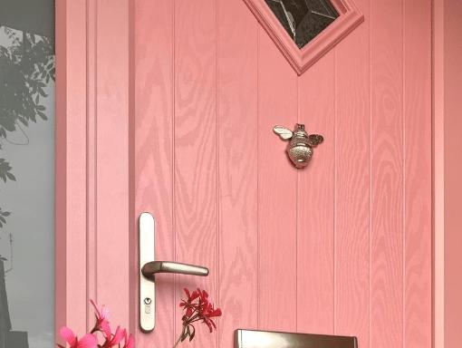Pink front door by Vista Panels